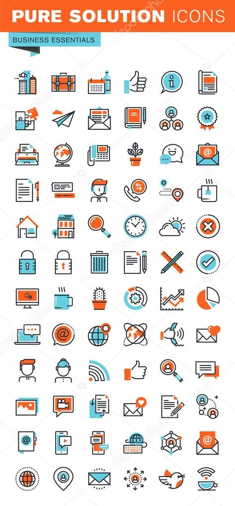 Thin line web icons for business, office, communication, online support, social media, networking, digital marketing, for websites and mobile websites and apps.