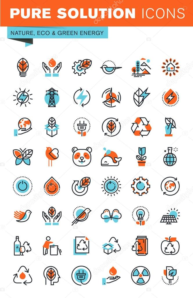 Thin line web icons for environment, recycling, renewable energy, green technology, for websites and mobile websites and apps.