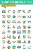 Fotografie Moderne dünne Linie Symbole Urlaub anbieten, Informationen über Reiseziele, Verkehrsmittel, Hotelausstattung