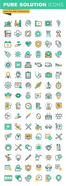 Modern thin line icons set of health treatment services, online medical support, medical research, dental treatment and prosthetic