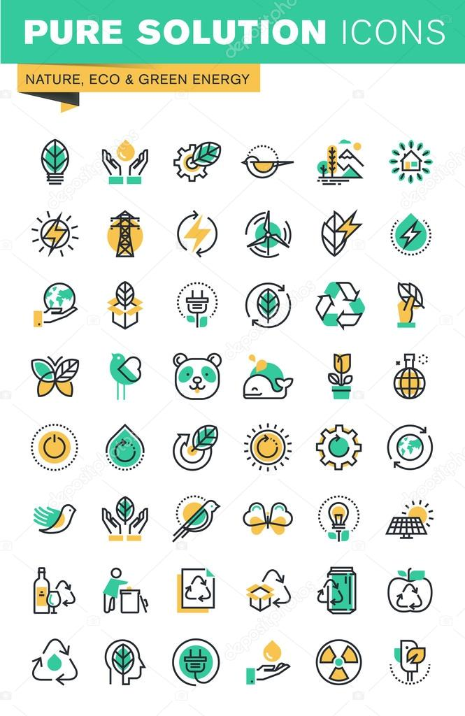 Modern thin line icons set of ecology, sustainable technology, renewable energy, recycling, nature, protection of flora and fauna