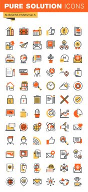 Basic thin line flat design web icons collection
