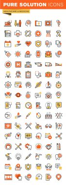 Healthcare thin line flat design web icons collection