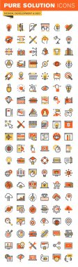 Design and development thin line flat design web icons collection