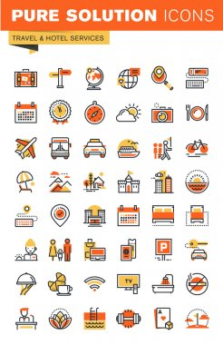 Travel thin line flat design web icons collection
