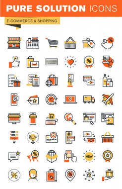 E-commerce thin line flat design web icons collection