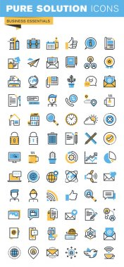 Set of thin line flat design icons of business essentials