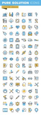 Set of thin line flat design icons of healthcare and medicine
