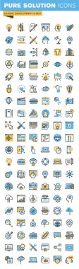 Set of thin line flat design icons of design, web development and seo