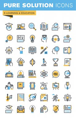 Set of thin line flat design icons of e-learning and education
