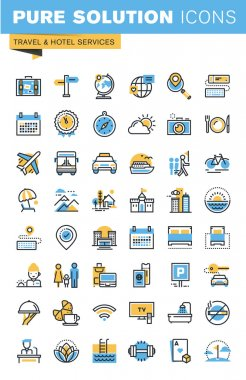 Set of thin line flat design icons of travel and hotel services
