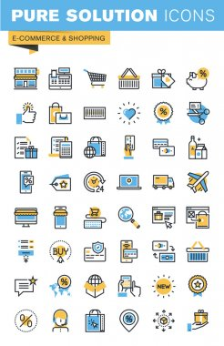 Set of thin line flat design icons of e-commerce and shopping
