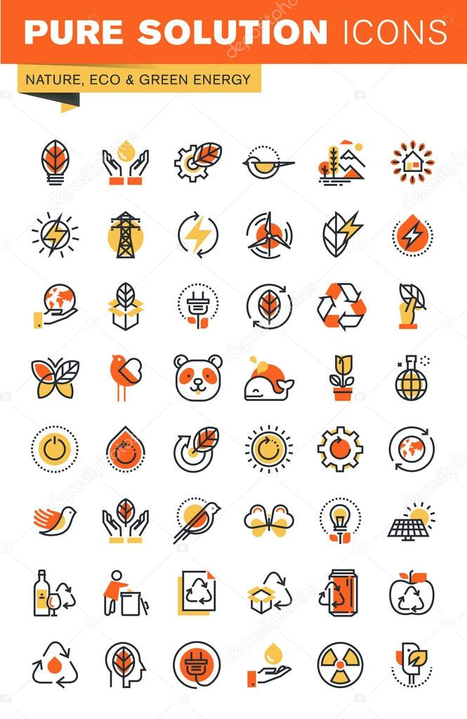 Environment thin line flat design web icons collection