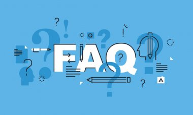 Thin line design concept for FAQ website banner