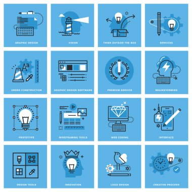 Set of thin line concept icons of graphic design, creative process, web design and development