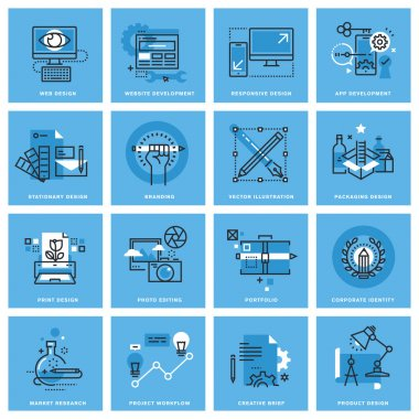 Set of thin line concept icons of different categories of graphic design, website and app design and development, project workflow