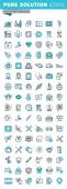 Modern thin line flat design icons set of medical supplies, healthcare diagnosis and treatment, laboratory tests, dental services, equipment and products