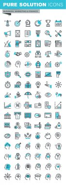 Modern thin line flat design icons set of business strategy, planning, analysis, e-banking, m-banking, investment, human resources, character experience