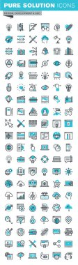 Modern thin line flat design icons set of graphic design, web design, photography, industrial design, branding, logo design, corporate identity, stationary, product design, app and website development, optimization