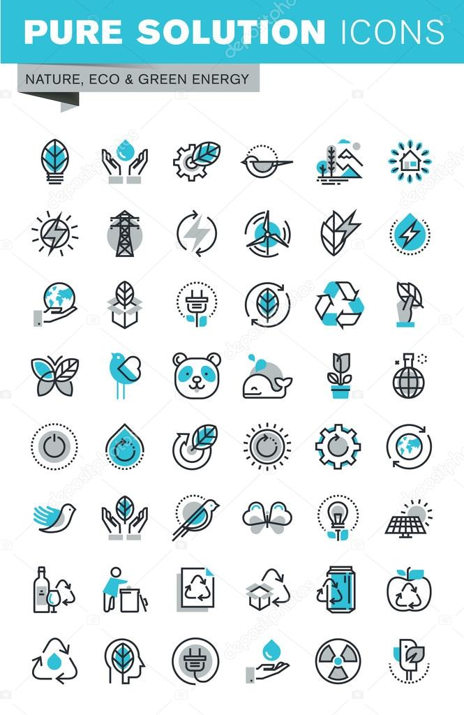 Modern thin line flat design icons set of ecology, nature, recycling, waste management, green energy and technology
