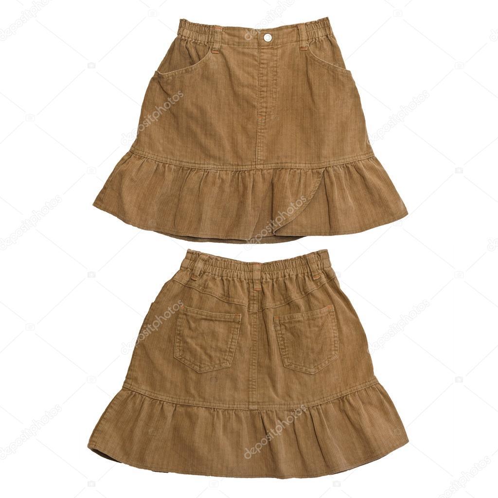 893b812edfa990 Voor- en achterzijde bruin corduroy rok op witte achtergrond — Stockfoto