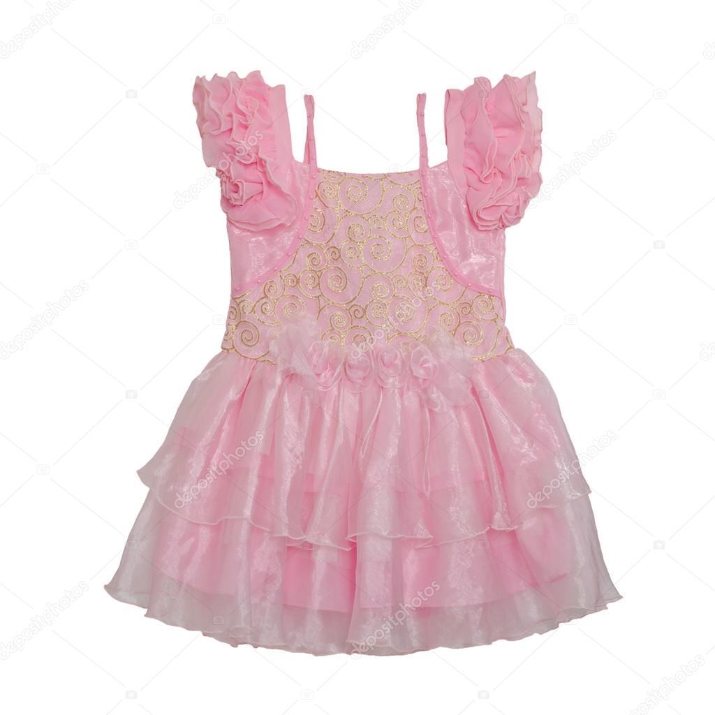 Vestido de bebe rosa con rosas aisladas sobre fondo blanco con la ...