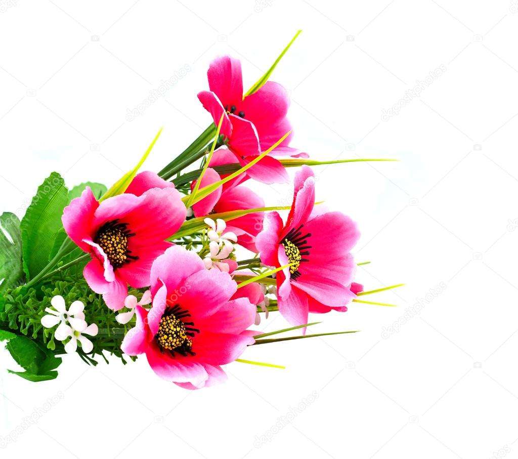 Artificial pink flower on white background