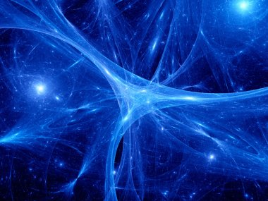 Glowing blue synapses in space