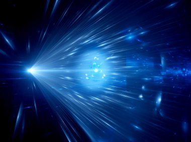 Blue glowing light rays in space