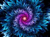 Magical glowing space fractal flower