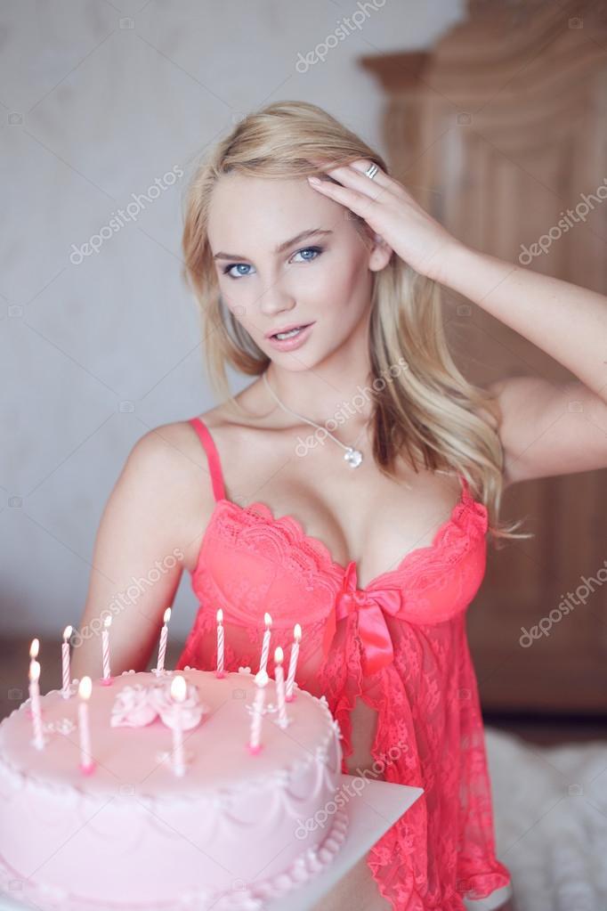 Astounding Sexy Blonde Woman Holding Birthday Cake Stock Photo Birthday Cards Printable Inklcafe Filternl