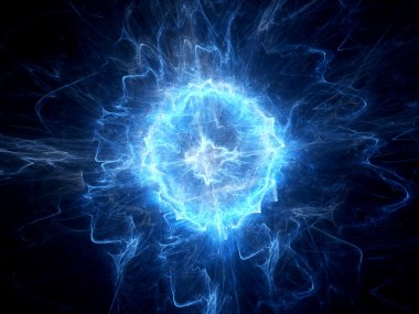 Blue glowing ball lightning