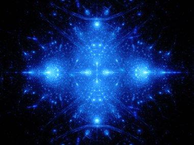 """Картина, постер, плакат, фотообои """"Голубой сияющий орнамент в пространстве"""", артикул 85323364"""