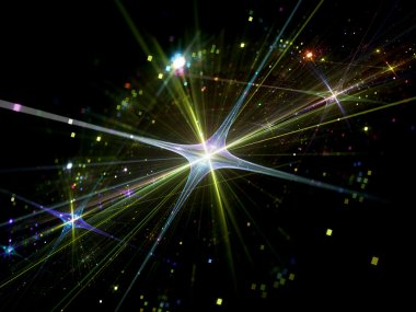Shiny star with particles in space