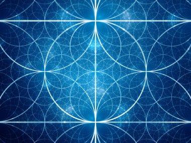 Blue symmetrical fractal circles