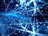 blau glühende Verbindungslinien mit Teilchen