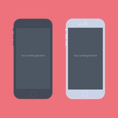 Phone Flat Mockup black and white
