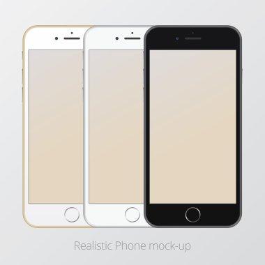 Smartphone realistic vector mockup three colour set. Model Isolated.