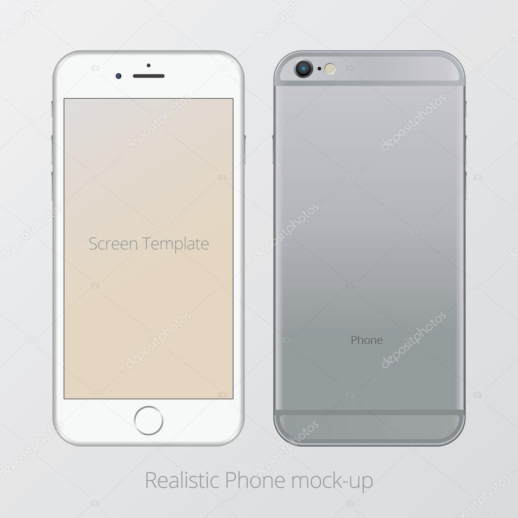 Smartphone realistic vector mockup three colour set. Model Isolated.