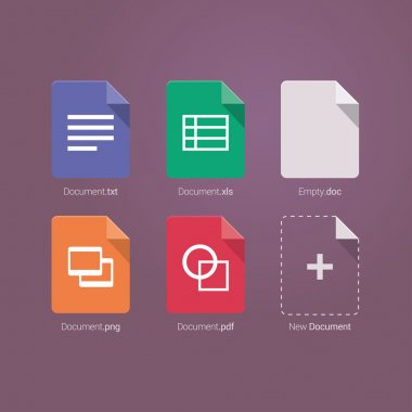Set of Document File Formats and Labels icons