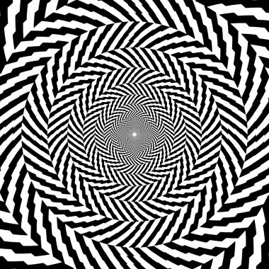 Vector illustration of optical illusion black and white hypnotic chess background