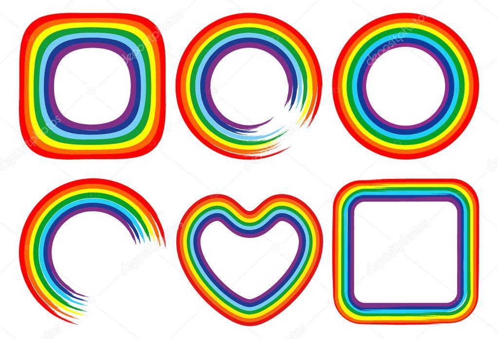 Art rainbow color frames brush strokes vector set — Stock Vector ...