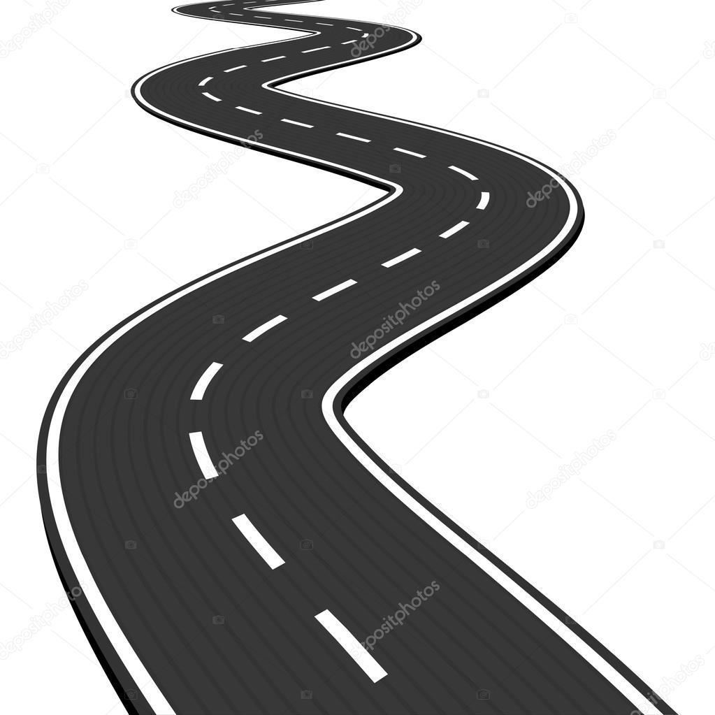 Vector Illustration of winding abstract asphalt road isolated on white background