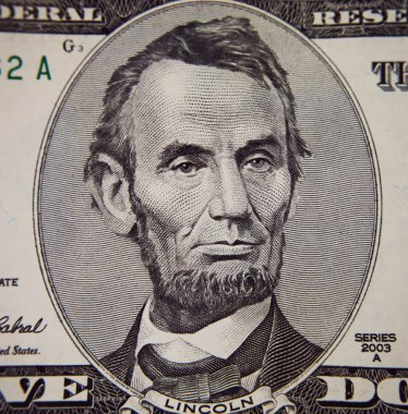 Abraham Lincoln portrait from five dollars bill