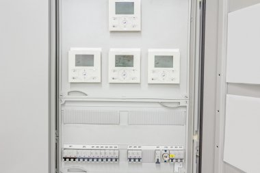 Electrical panel with automatic fuse switches and modern digital
