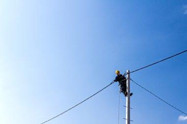Work on a pole