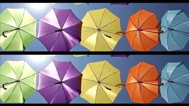 Decoration with hanging umbrellas