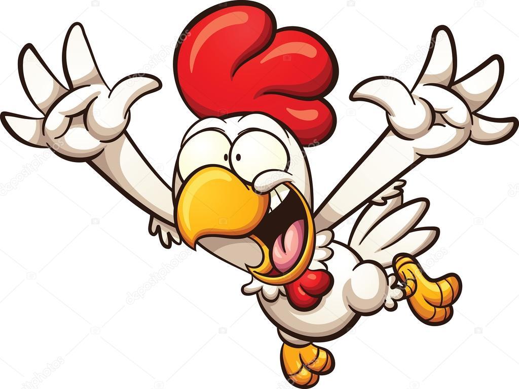 Flying cartoon chicken — Stock Vector © memoangeles #108324876