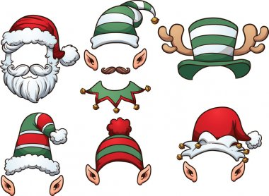 Cartoon Christmas hats. Vector clip art illustration with simple gradients. Each on a separate layer. stock vector