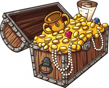 Cartoon treasure chest. Vector clip art illustration with simple gradients. All in a single layer. stock vector